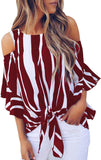 Women's Striped 3/4 Bell Sleeve Off The Shoulder Front Tie Knot T Shirt Tops Blouse