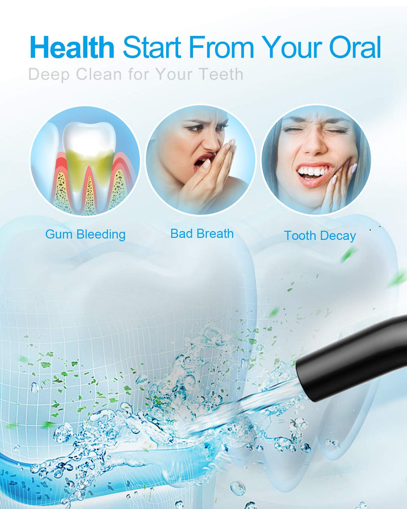 Cordless Water Flosser Teeth Cleaner,  300ML Cleanable Water Tank Water Jet Pik Rechargeable 3 Modes Oral Irrigator with tip case for Oral Care
