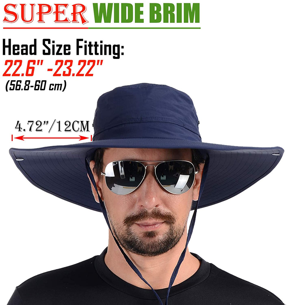 Flat Super Wide Brim Fishing Hat Bucket Hat, Safari Hat UPF 50+ Sun Hat