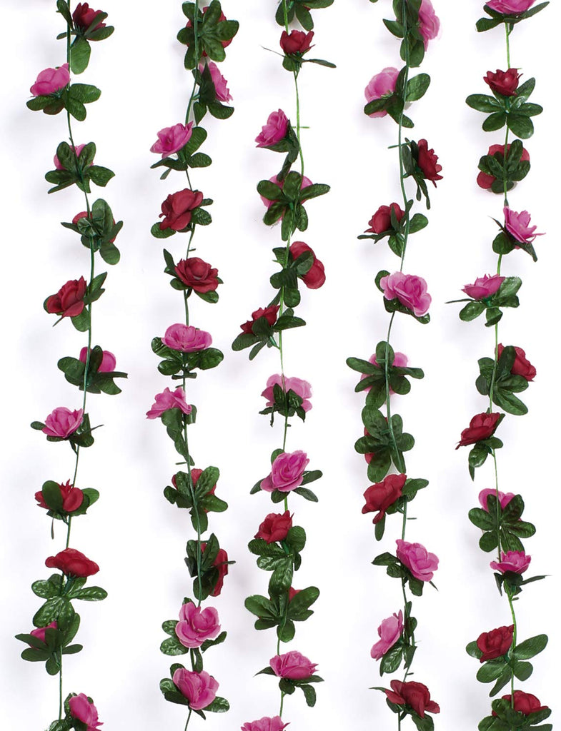 5 Pack 41 FT Fake Rose Vine Flowers Plants Artificial Flower Hanging Rose Ivy Home Hotel Office Wedding Party Garden Craft Art Décor Champagne
