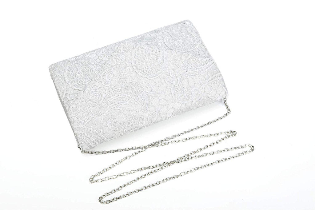 Nodykka Wedding Pleated Floral Lace Clutches Bag Evening Cross Body Handbags Purse
