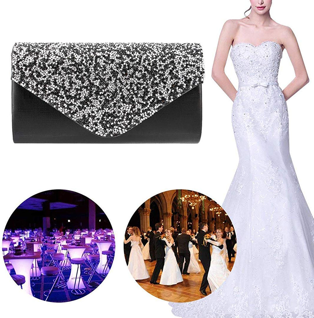 Womens Evening Bag Handbag Clutch Purse Rhinestone-Studded Flap for Wedding Party Prom