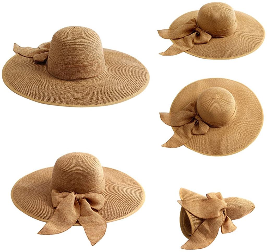 Womens 5.5 Inches Big Bowknot Straw Hat Large Floppy Foldable Roll up Beach Cap Sun Hat UPF 50+