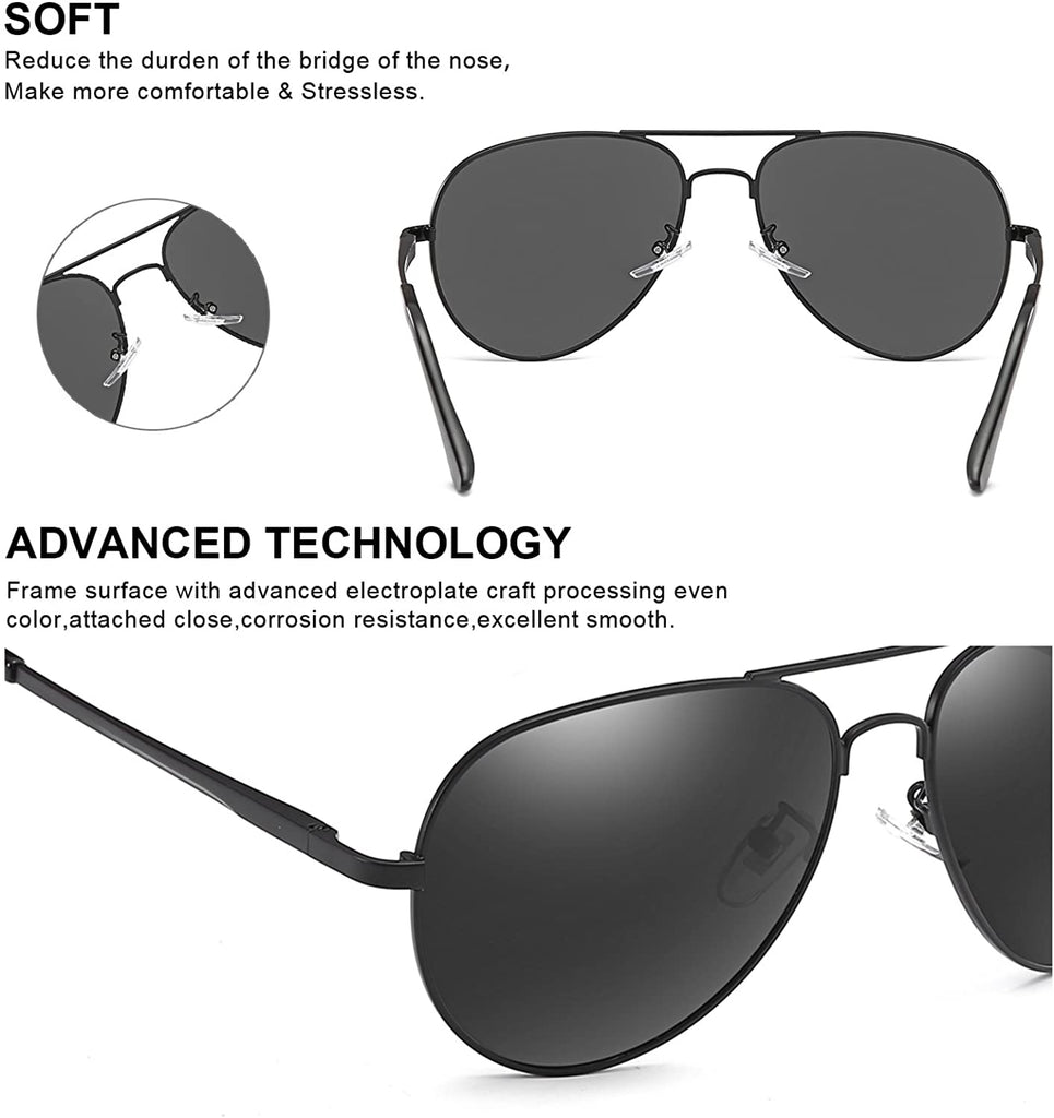 Aviator Sunglasses for Women Polarized Mirrored, Large Metal Frame, UV 400 Protection