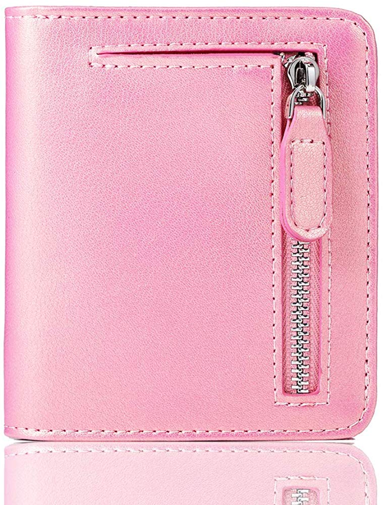 Leather Wallet for women, Ladies Small Compact Bifold Pocket RFID Blocking Wallet for Women