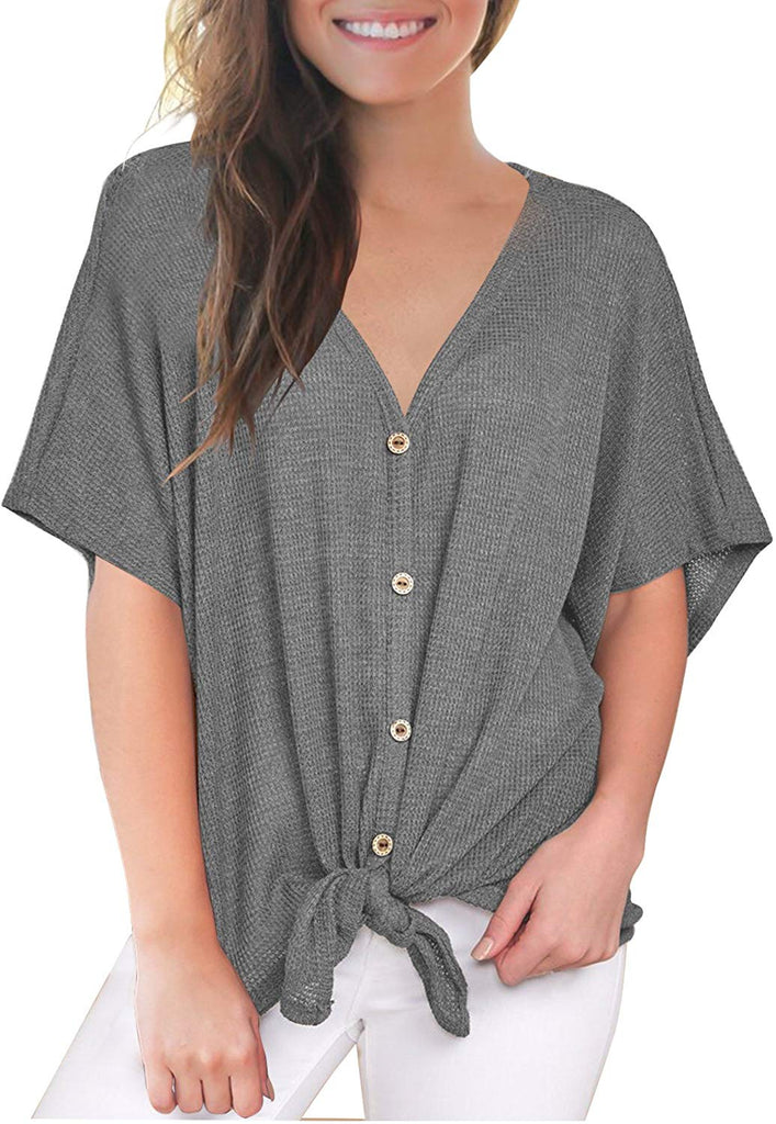 Loose Blouse Short Sleeve V Neck Button Down T Shirts Tie Front Knot Casual Tops for women