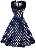 Women's Polka Dot Retro Vintage Style Cocktail Party Swing Dresses