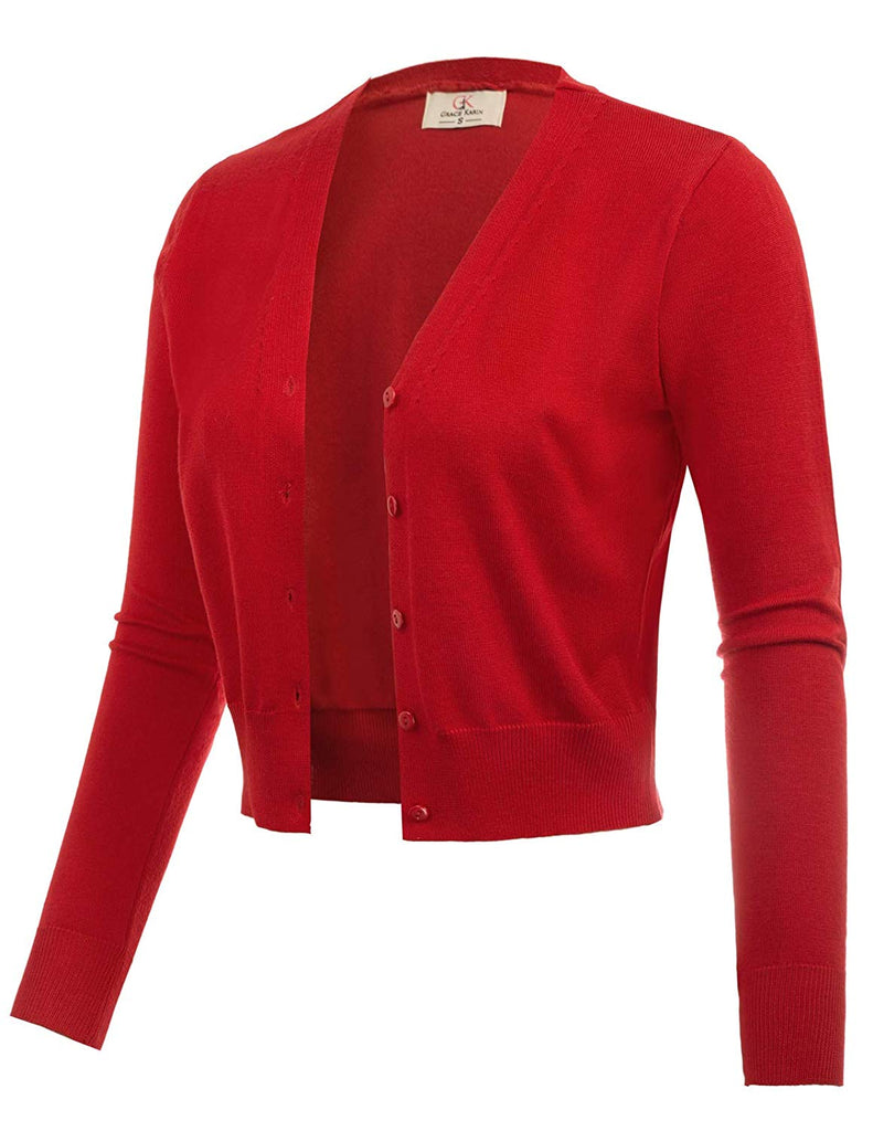 Women's  V-neck Top Open Front Knit Cropped Bolero Shrug Cardigan Sweater Long Sleeve