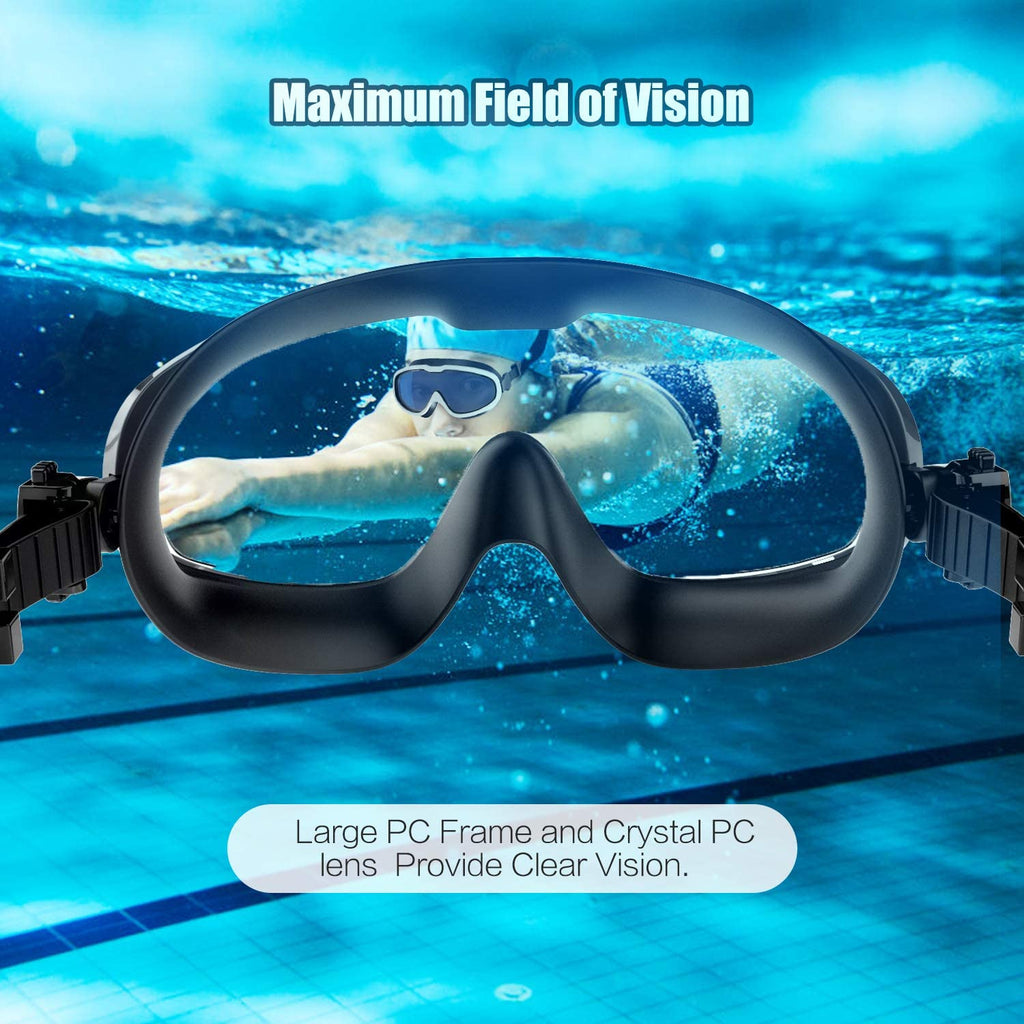 Swim Goggles, Swimming Goggles with Solid PC Frame and Soft Silicone Gasket UV Protection
