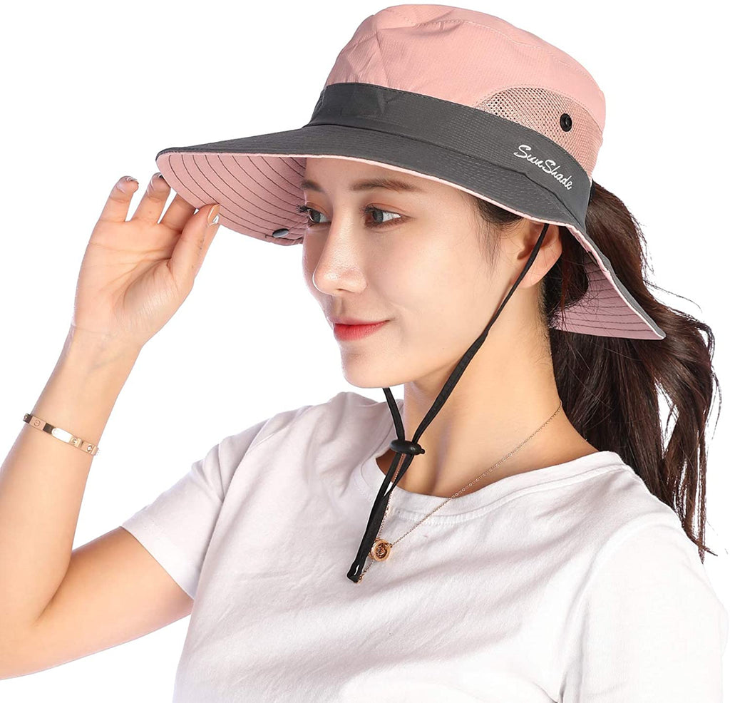 Women Sun Hat Wide Brim Bucket Mesh Boonie Cap Outdoor Fishing Hats UV Protection