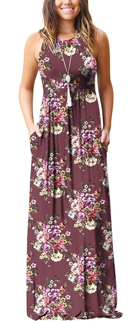 Women's Summer Floral Print Casual Long Dresses with Pockets