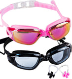 2 Pack Adult Swimming Goggles,No Leaking,Anti Fog,UV Protection Swim Glasses Water Goggles