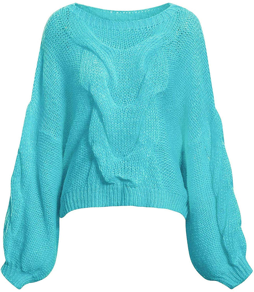 Women's Casual Long Sleeve Loose Pullover Knit Sweater Jumper Top