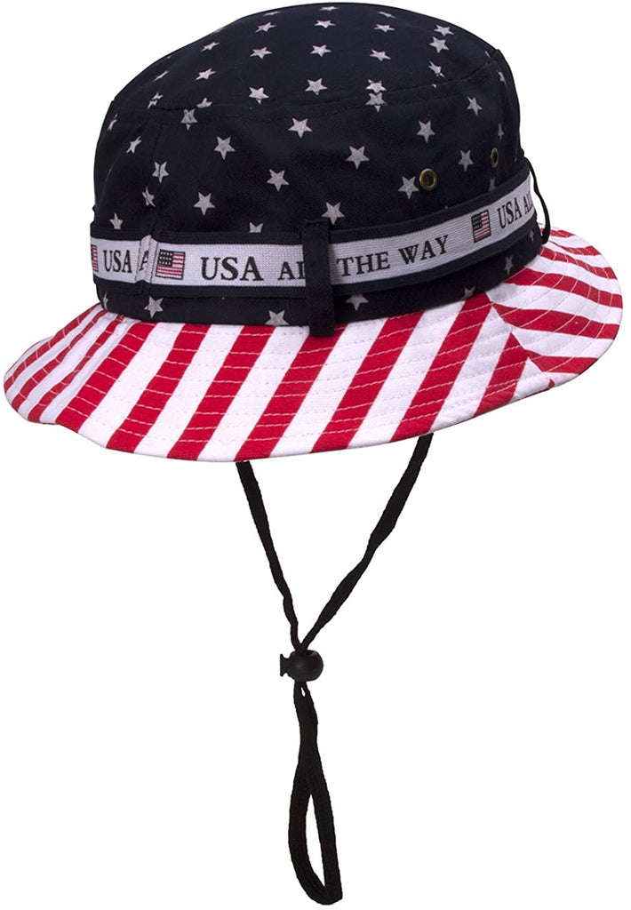 Cotton Twill USA American Flag Bucket Hat USA All The Way