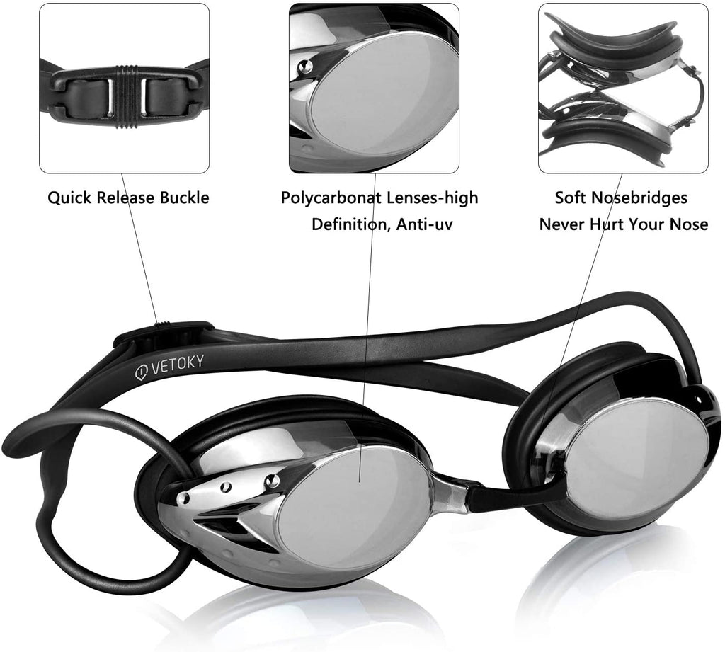 Anti Fog Swimming Goggles UV Protection Mirrored & Clear No Leaking Triathlon Equipment for Adult and Children