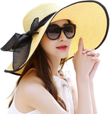 Womens Big Bowknot Straw Hat Foldable Roll up Sun Hat Beach Cap UPF 50+
