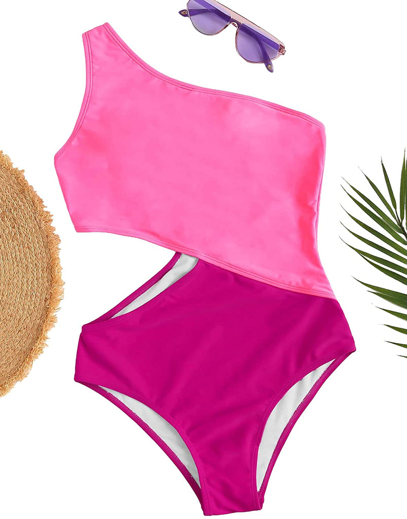 Women's Bathing Suits One Shoulder Cutout One Piece Swimsuit Swimwear Monokini