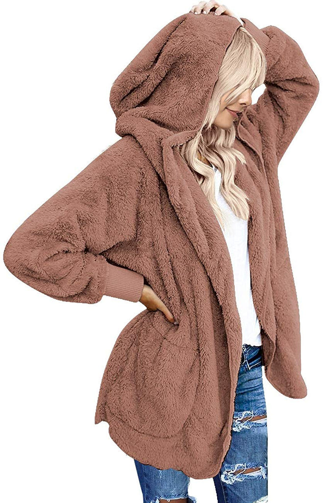 Casual Fuzzy Fleece Hooded Cardigan Pocket Faux Fur Outerwear Coat