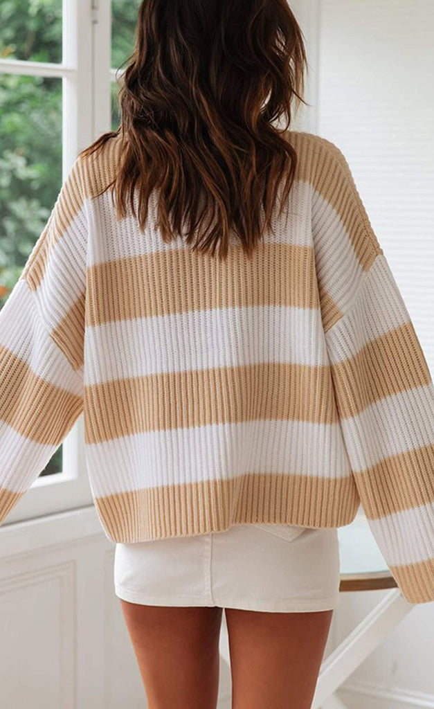 Women's Long Sleeve Crew Neck Striped Color Block Comfy Loose Oversized Knitted Pullover Sweater