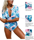 Womens Zip Front Printed Half Sleeve/Long Sleeve One Piece Swimsuit Swimwear