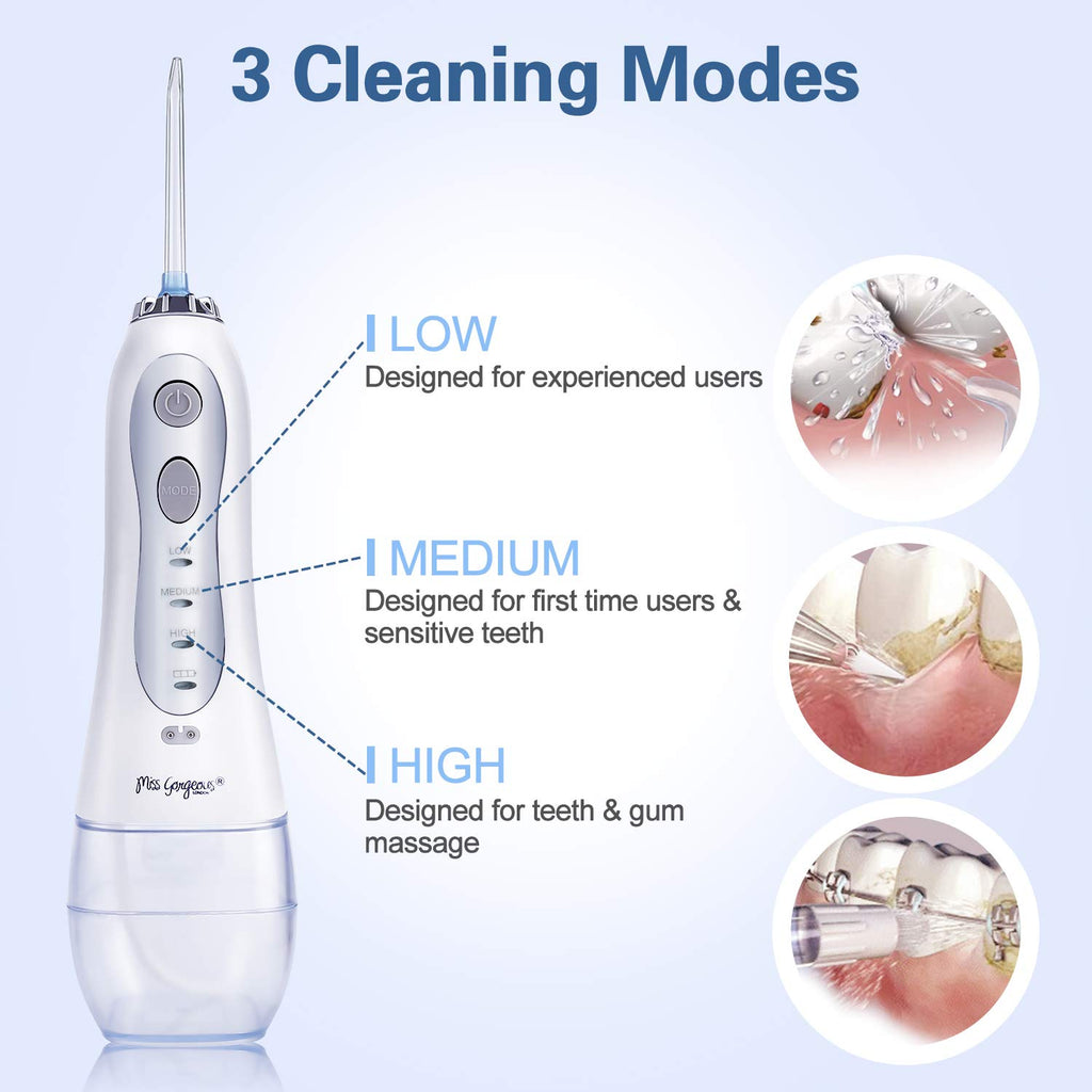 Cordless Water Flosser Teeth Cleaner - Dental Oral Irrigator with 300ml Water Tank Portable and Rechargeable IPX7 Waterproof 3 Mode USB Rechargable