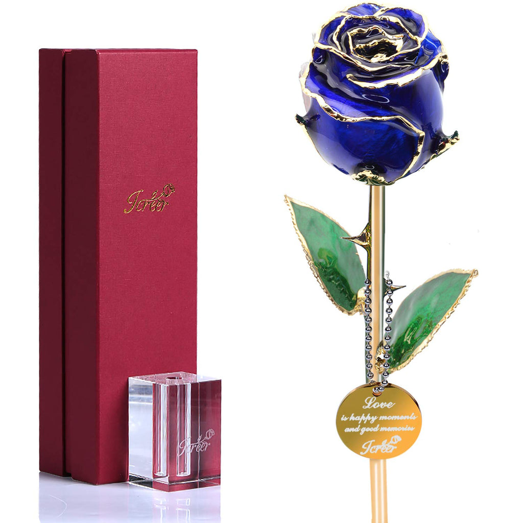Rose Flower 24k Gold Rose,Romantic Gift for Valentine's Day,Mother's Day,Birthday,Anniversary,Thanksgiving,Christmas,New Year,Blue