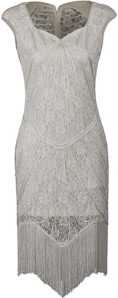 Vintage 1920s Inspired Embellished Beaded Lace Cocktail Flapper Dress