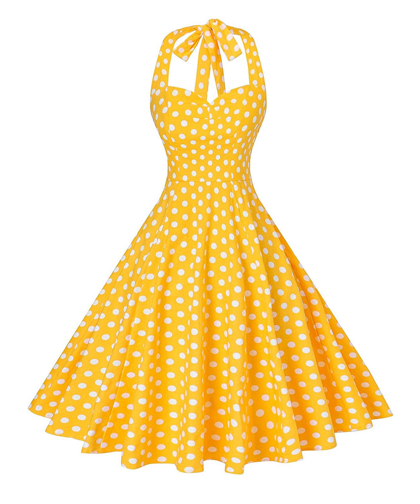 Rockabilly 50s Vintage Polka Dots Halter Cocktail Swing Dress for women