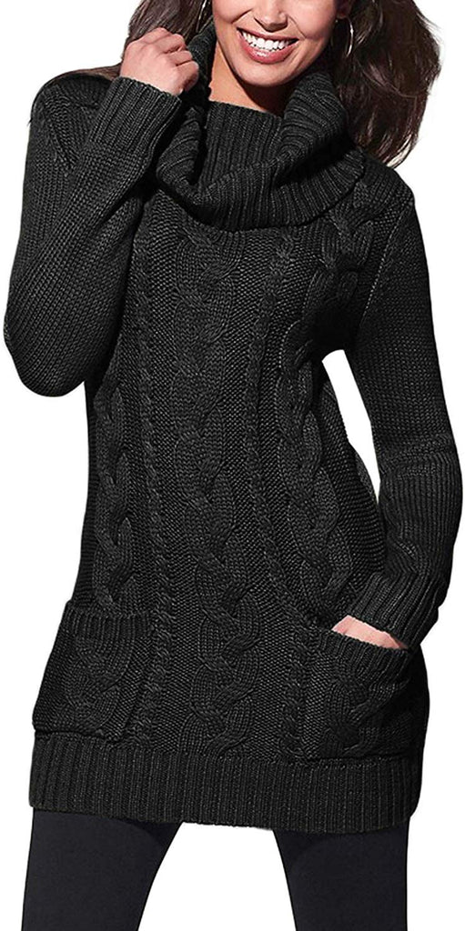 Womens Turtleneck Long Sleeve Elasticity Chunky Cable Knit Pullover Sweaters Jumper
