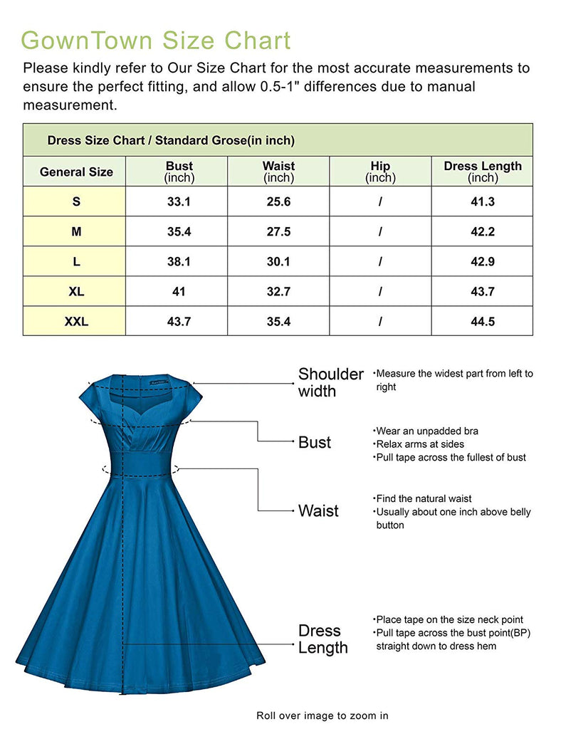 Women's Vintage 1950s Retro Rockabilly Prom Dresses 50s Swing Dress