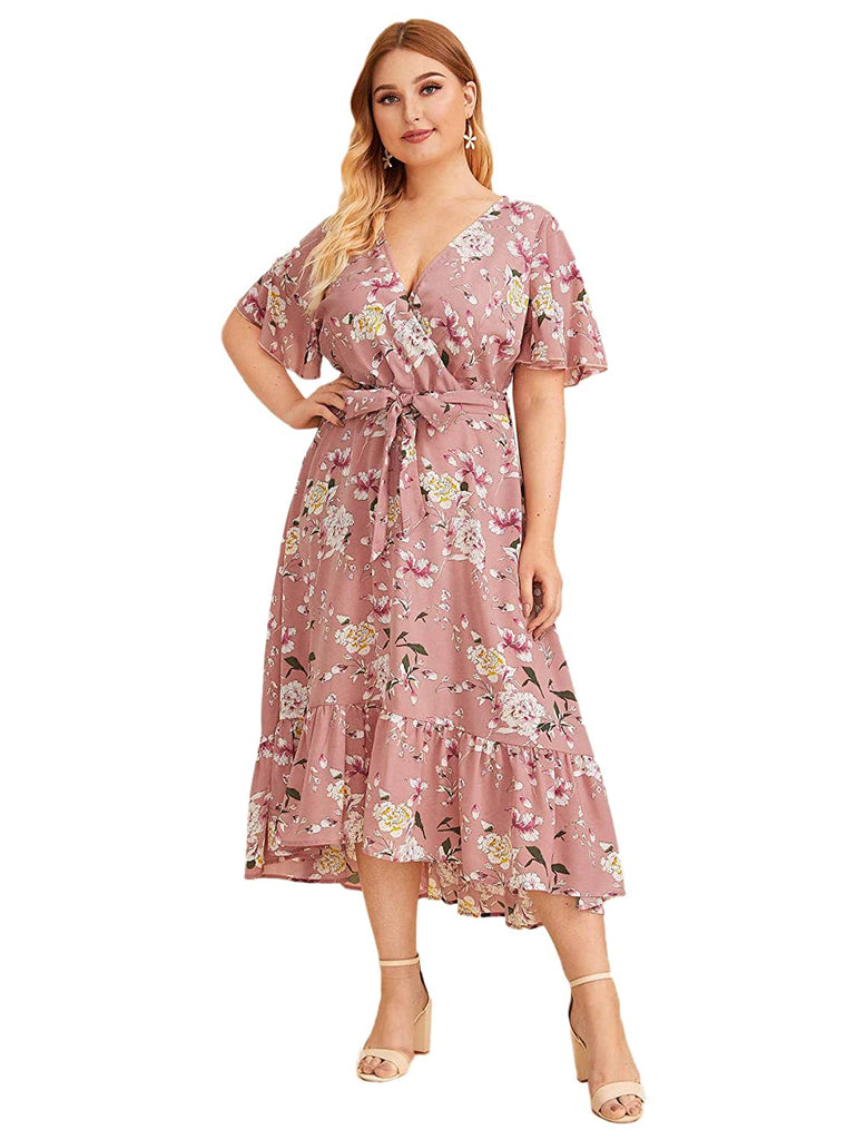 Asymmetrical High Low Bohemian Party Maxi Dress Plus Size Short Sleeves Wrap V Neck Belted Empire Waist
