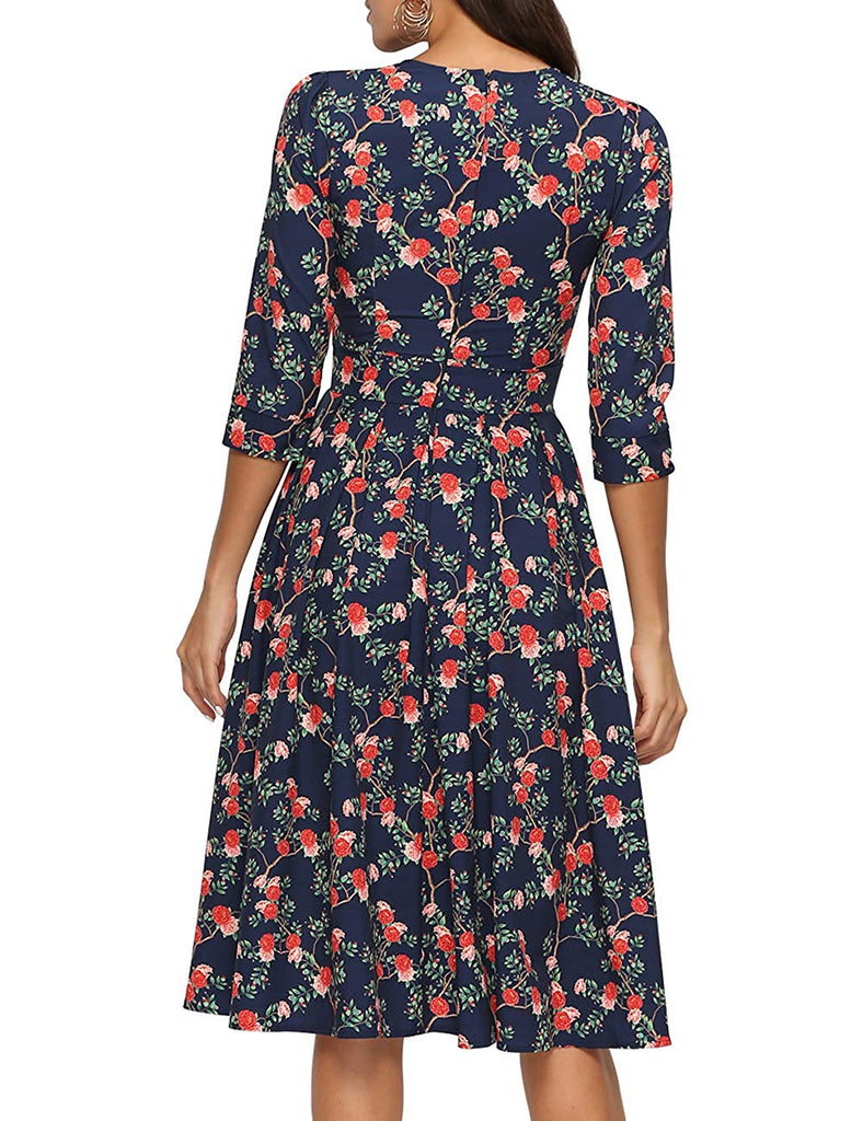 Women's Floral Vintage Dress Elegant Midi Evening Dress 3/4 Sleeves