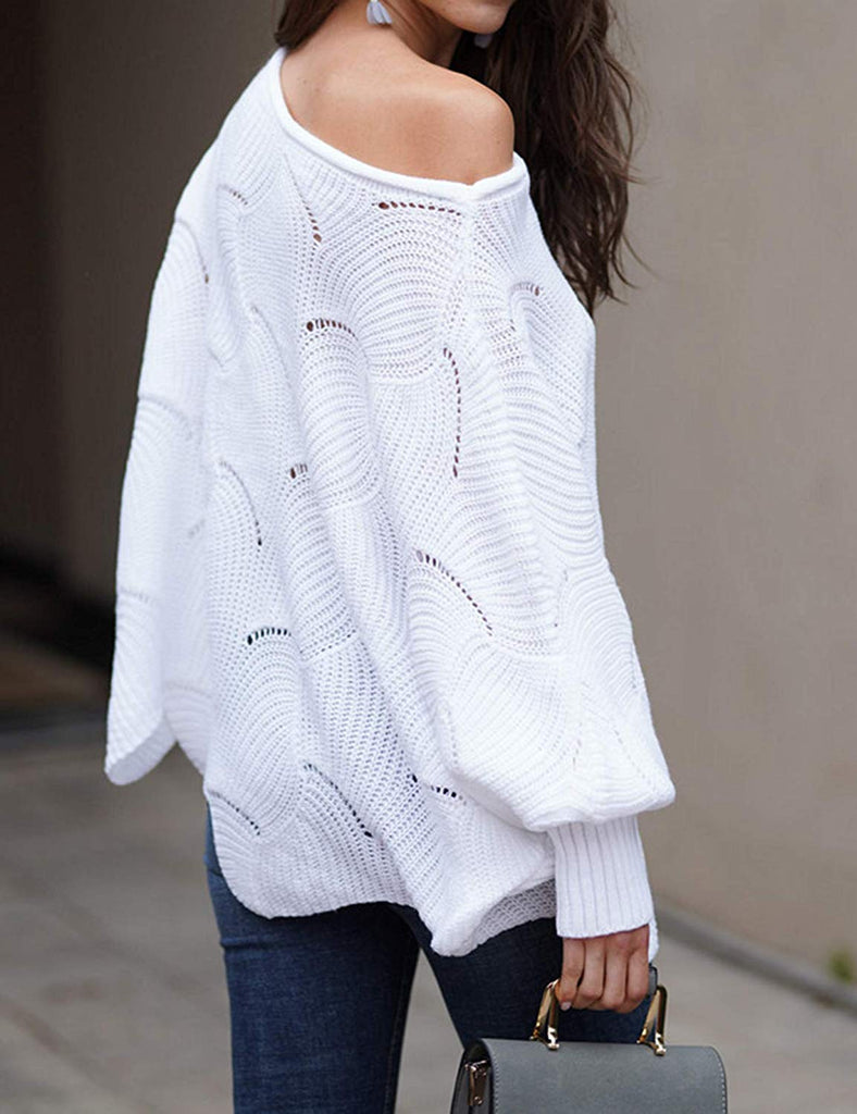 Pullover Batwing Sleeve Loose Hollow Knit Sweaters for women