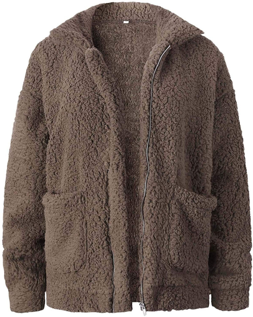 Women's Coat Casual Fleece Fuzzy Faux Shearling Fluffy Jackets Winter Long Sleeve Zip Up Outwear with Pockets S-3XL