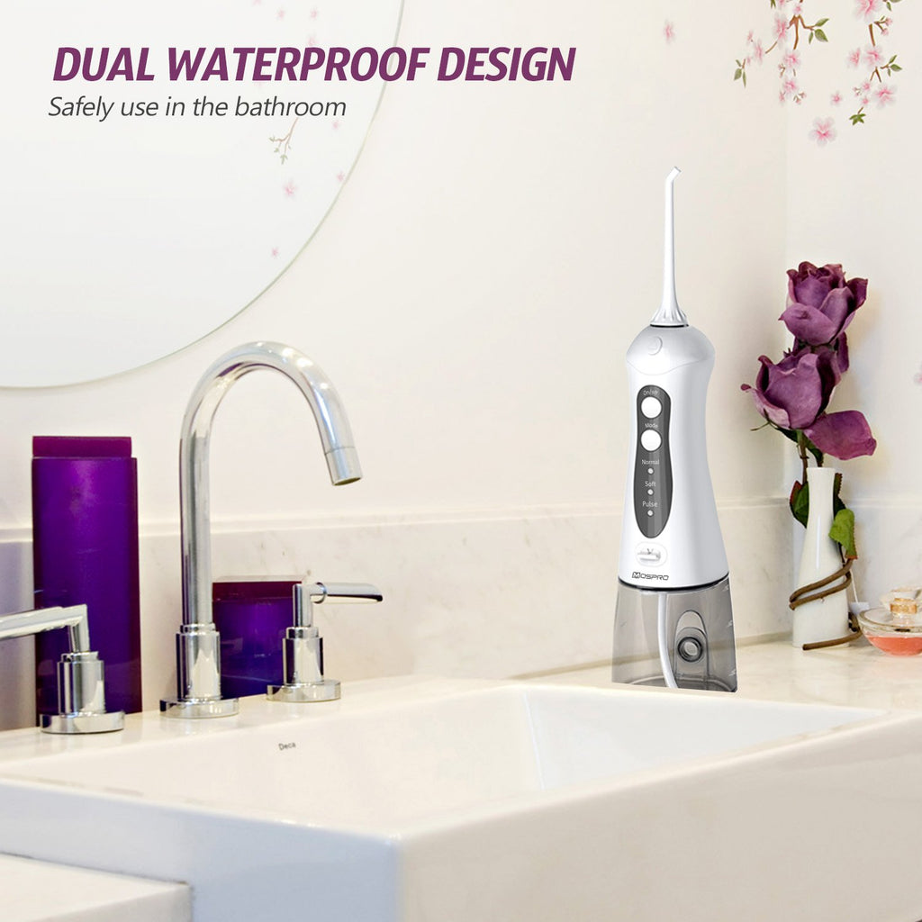 Water Flosser Professional Cordless Dental Oral Irrigator - 300ML Portable and Rechargeable IPX7 Waterproof 3 Modes Water Flosser with Cleanable Water Tank