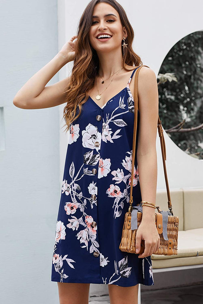 Women Summer Spaghetti Strap Button Down V Neck Sleeveless Casual Mini Dress