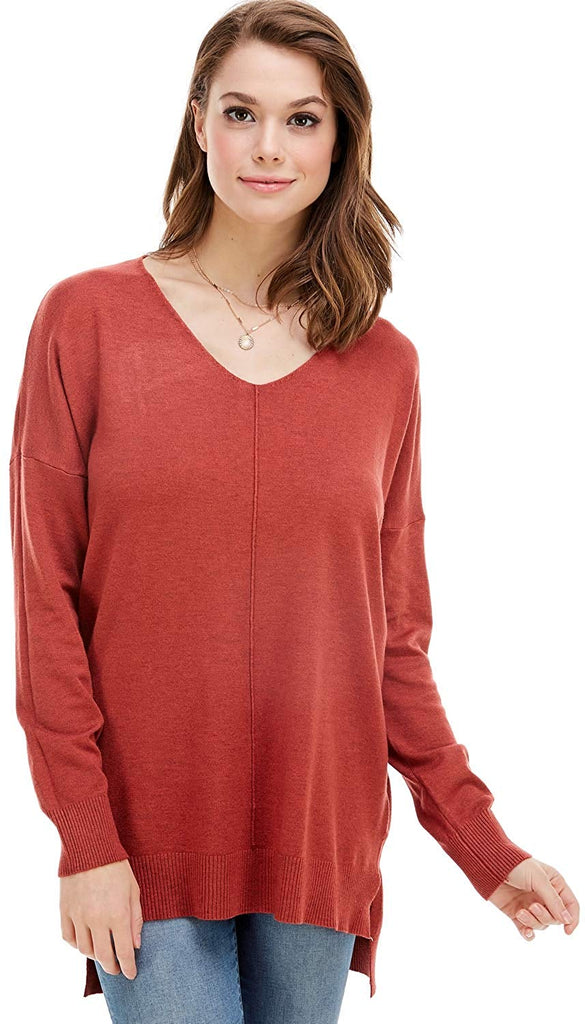 Women's Oversized Extra Soft V-Neck Pullover Sweater Long Sleeved Sweater Top with Hi-Low