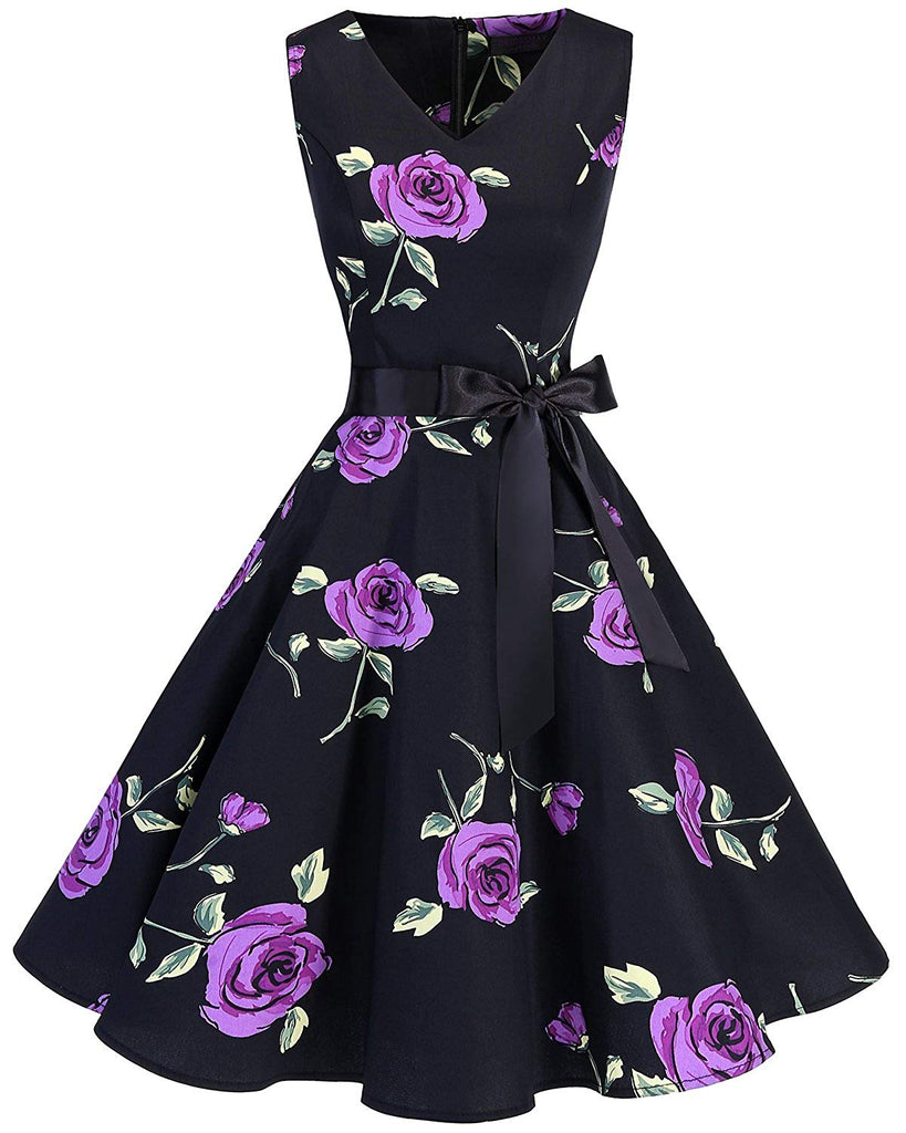 1950s dress Women's V-Neck 50s Vintage Elegant Floral Rockabilly Swing Cocktail Party Dress