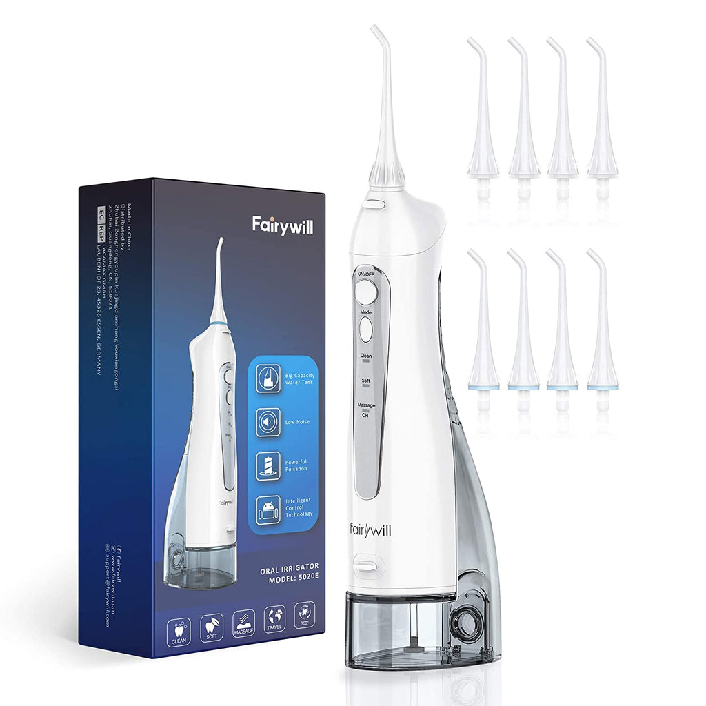 Water Flossers for Teeth, 300ML Cordless Dental Oral Irrigator, 3 Modes and 8 Jet Tips, IPX7 Waterproof