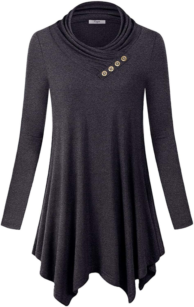 Womens Long Sleeve Cowl Neckline Asymmetrical Hemline Flowy Tunic Top