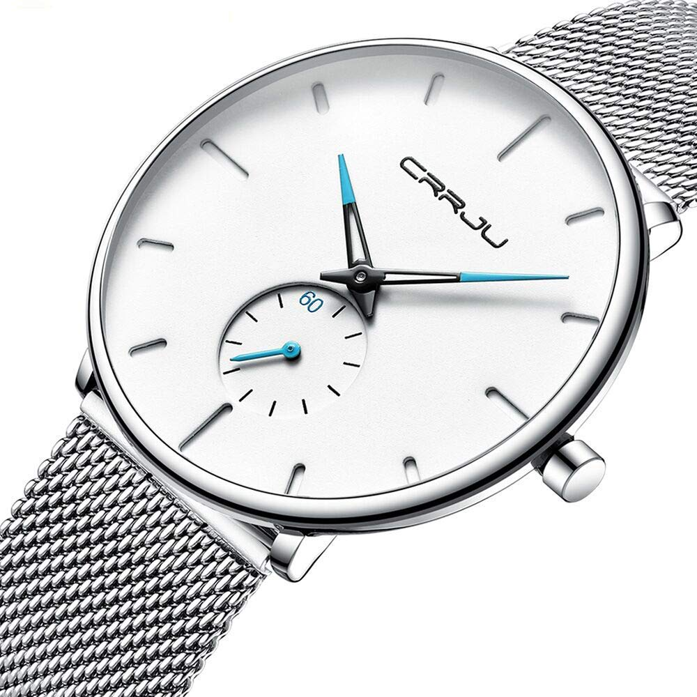 Watch Ultra Thin Wrist Watches for Men Fashion Waterproof Dress Stainless Steel Band