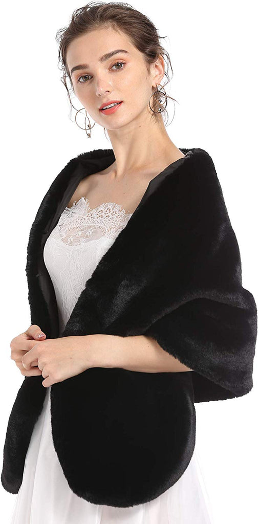 Faux Fur Wedding Wrap Shawl Long Cape Bridal Wraps and Shrugs for Winter Wedding Evening Party