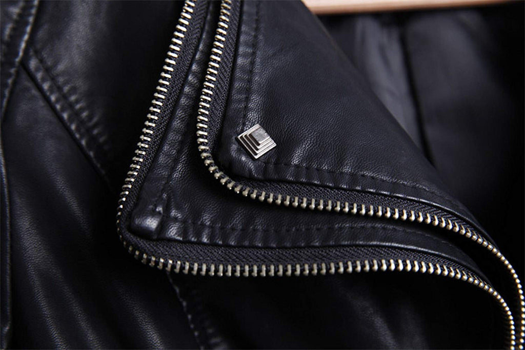 Fashion Studded Perfectly Shaping Faux Leather Biker Jacket for women