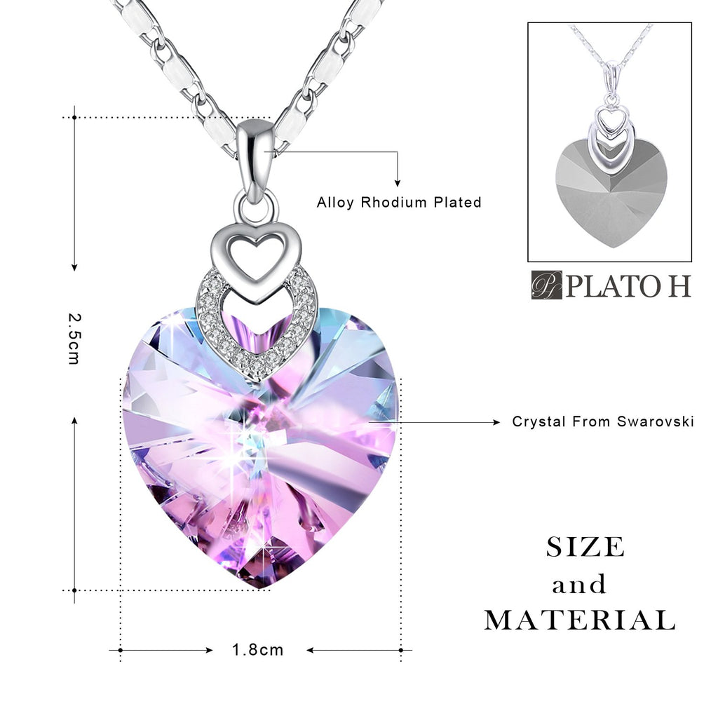 18K ROSE GOLD GF CRYSTAL LOVE HEART ANNIVERSARY NECKLACE PENDANT MOTHER GIFT NEW