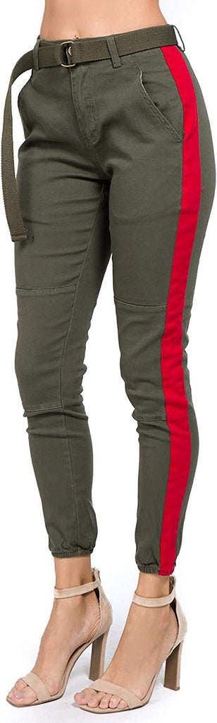 Women's High Rise Slim Fit Color Jogger Pants Matching Belt - Size Small to 3X for women