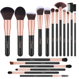 18 Pcs Makeup Brushes Premium Synthetic Fan Foundation Powder Kabuki Brushes Concealers Eye Shadows Make Up Brushes Kit (Rose Gold)