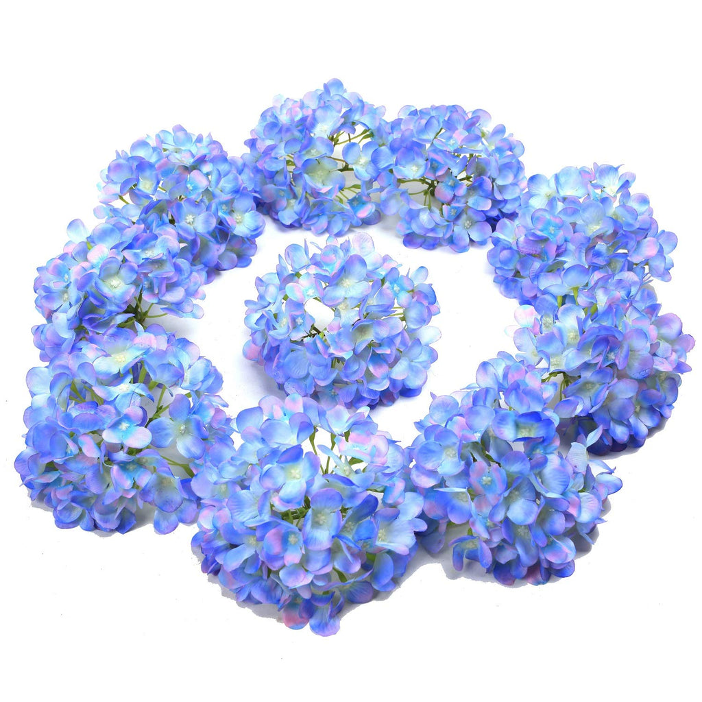 Wedding Party Home Decor (Blue),10PCS Silk Hydrangea Heads with Stems Artificial Flowers