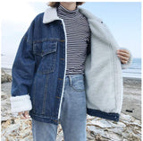 Women's Oversized Sherpa Fur Lined Denim Trucker Jacket Boyfriend Jean Coat