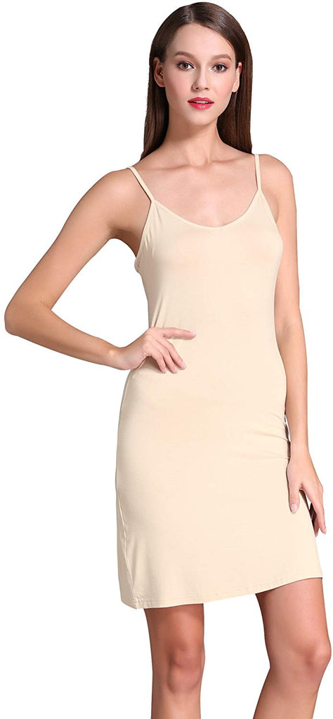 Women's Long Spaghetti Strap Cami Active Basic Camisole Slip Dress