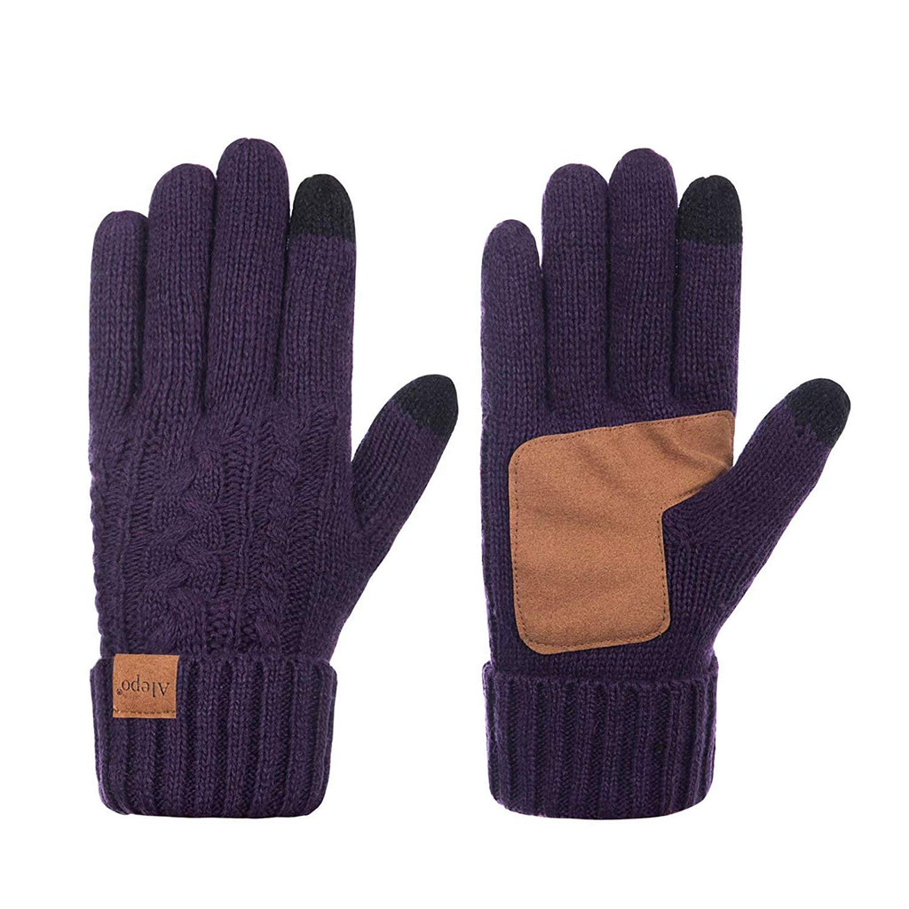 Winter Wool Warm Gloves For Women, Anti-Slip Knit Touchscreen Thermal Cuff Driving Gloves With Thick Fleece Lining